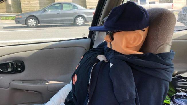 一名駕駛者日前為了可以使用長島快速路HOV快速車道,把假人放在副駕駛座。(警方提供)
