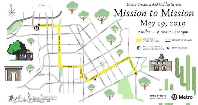 2019年626金街活動路線圖。(聖蓋博谷單車會提供)
