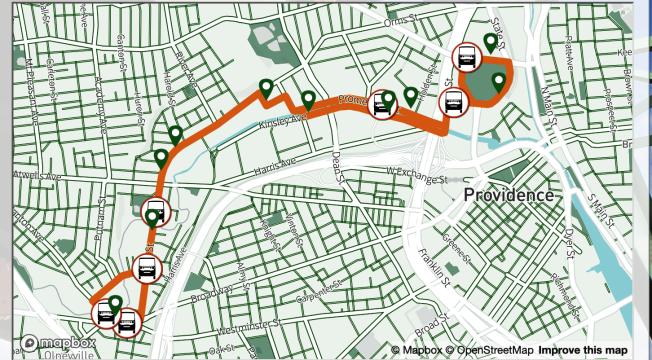 羅德島交通署提供自動駕駛巴士實時地圖。(取自羅德島交通廳官網)