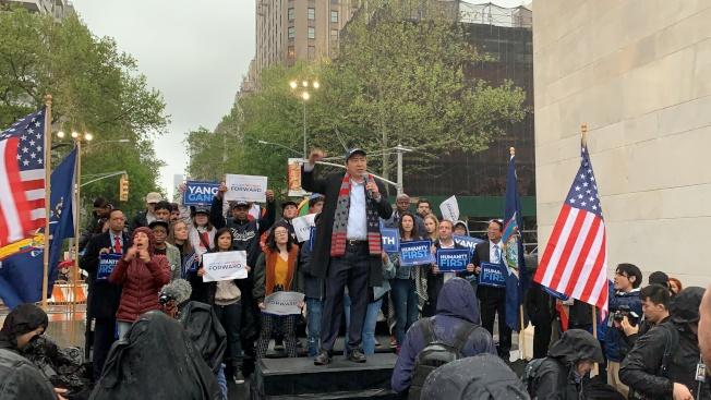 2020年總統大選華裔民主黨參選人楊安澤,14日在紐約曼哈頓舉辦「人性之上之旅」競選造勢活動。(記者和釗宇/攝影)