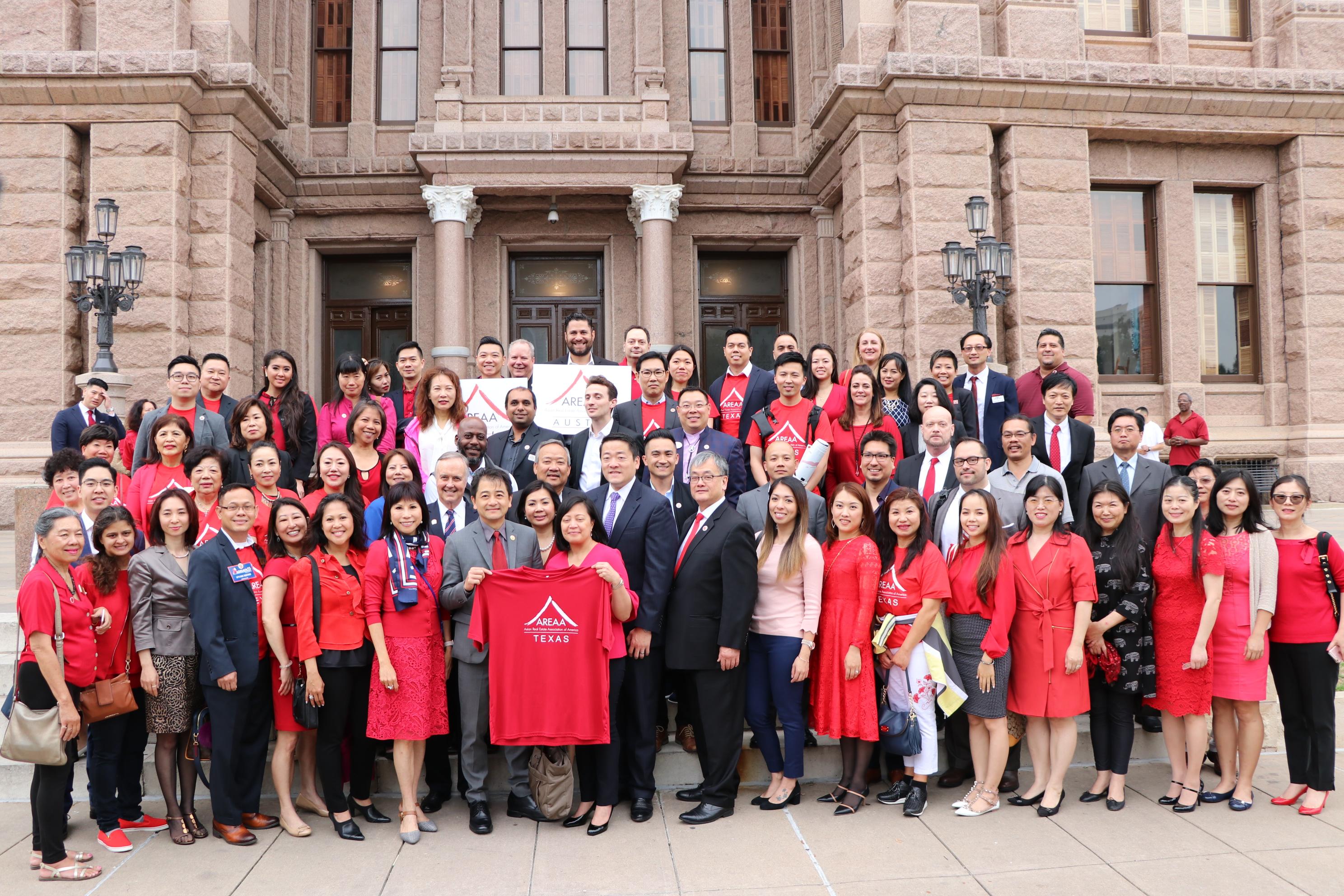 亞裔地產協會德州三個分會會員齊聚奧斯汀議會,為房地產稅請命。
