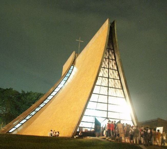 華裔建築師貝聿銘參與設計的台灣東海大學路思義教堂。(本報系資料照片)