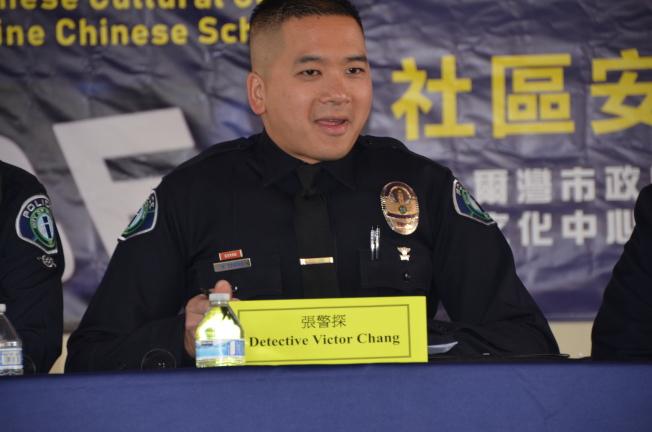 華裔探員張育瑋告誡居民出門在外隨時保持警惕。(記者王全秀子╱攝影)