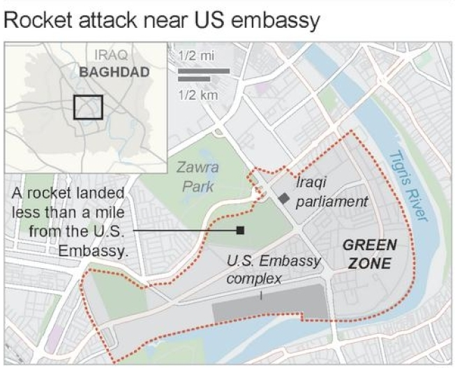 綠區是位於巴格達市中心的廣大區域,伊拉克政府部門以及包括美國大使館在內的重要大使館,都設在綠區內。(美聯社)