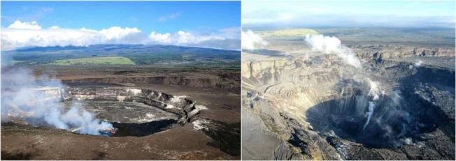 基拉韋厄火山爆發前後的火山口樣貌。左:2018年4,右:2018年7月。 (美國地質調查所提供)