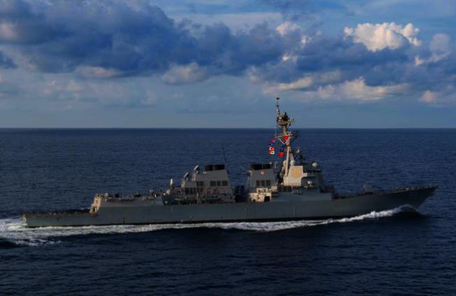 美國軍方表示,美軍驅逐艦普瑞布爾號(USS Preble)19日駛近黃岩島。圖方普瑞布爾號2018年3月29日行駛至印度洋的資料照片。路透