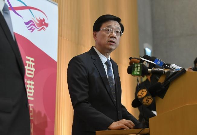 李家超20日去信立法會內會主席,要求下月恢復《逃犯條例》草案二讀。(中通社)