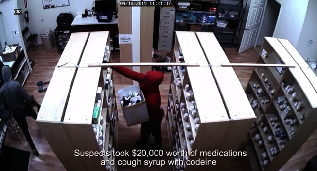 兩人搶走了約2萬元的藥品。(視頻截圖)