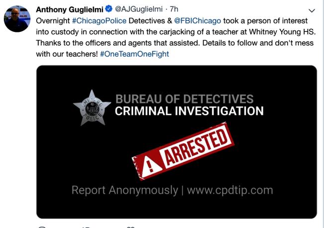 貴爾列米發布推文稱,警方已經逮捕涉嫌搶劫芝加哥高中老師的劫匪。(貴爾列米推特)