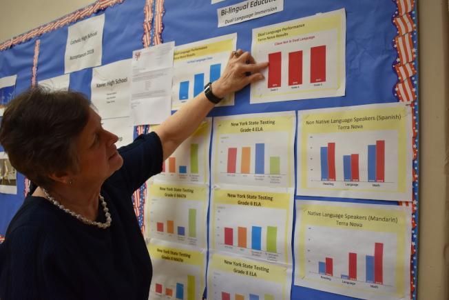 聖麥克天主學校分析該校學習雙語與未學習雙語學生的考試表現,發現學習雙語學生的考試成果持續穩定進步。(記者顏嘉瑩╱攝影)
