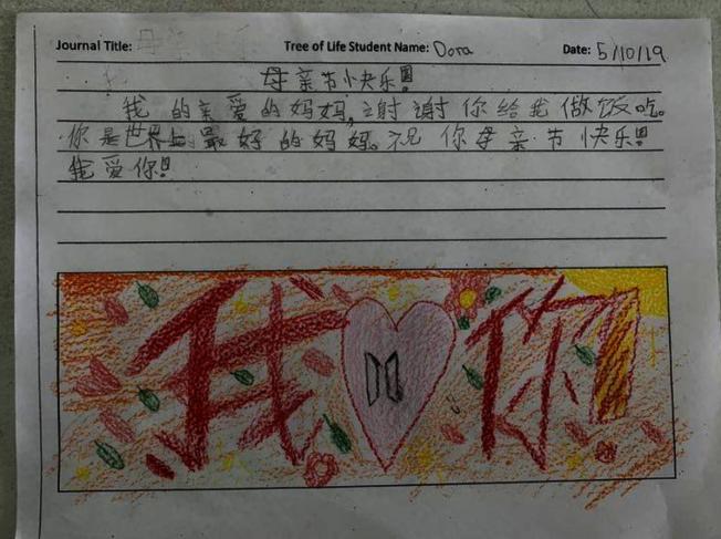 為了慶祝母親節,學生特地製作母親節海報。(樹人學院提供)