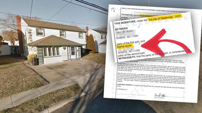 一名紐約長島婦女買房(左)受騙,付四萬元頭款後拿到的房契(右)只是一張廢紙。(NBC紐約地方電視台截圖)