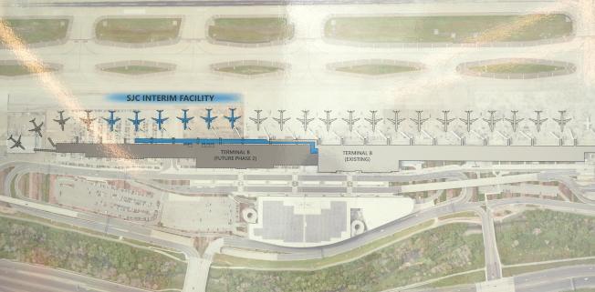 機場規畫圖,藍色部分為新登機口。(圖:機場提供)