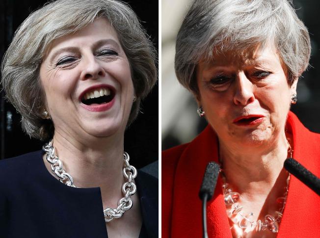 英國首相梅伊三年前因脫歐登上大位(左),三年後因脫歐不力黯然下台(右)。Getty Images