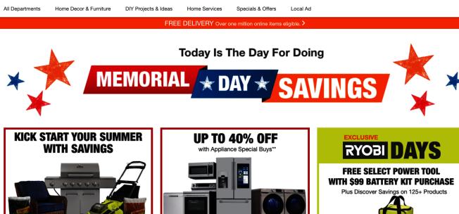 Home Depot的大型家用電器有不錯的Deal。(網路截圖)