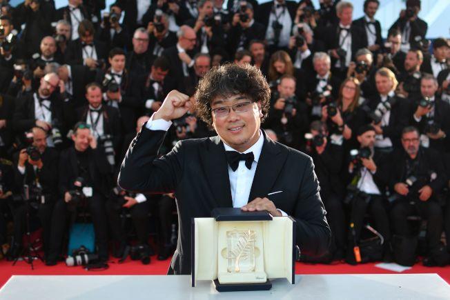 南韓導演奉俊昊(Bong Joon-ho)執導的「寄生上流」(Parasite)今天奪得坎城影展最高榮譽金棕櫚獎。Getty Images
