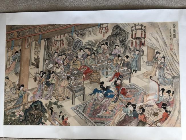 易彬文創作的手卷「夜宴圖」。(記者劉先進/攝影)