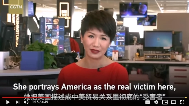中國央視女主播劉欣。(截自影片)
