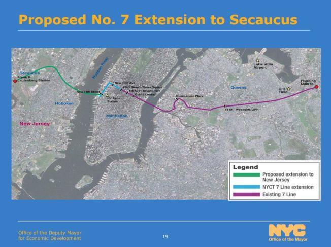 紐新航港局正考慮將紐約地鐵7號線延伸至新澤西州交通樞紐錫考克斯,方便兩岸居民通勤。(市長辦公室提供)