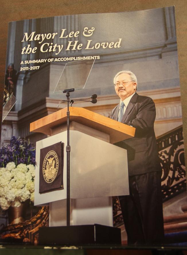 李孟賢的政策大事記「李市長與他所愛的城市」(Mayor Lee and the City He Loved)。(記者李晗╱攝影)