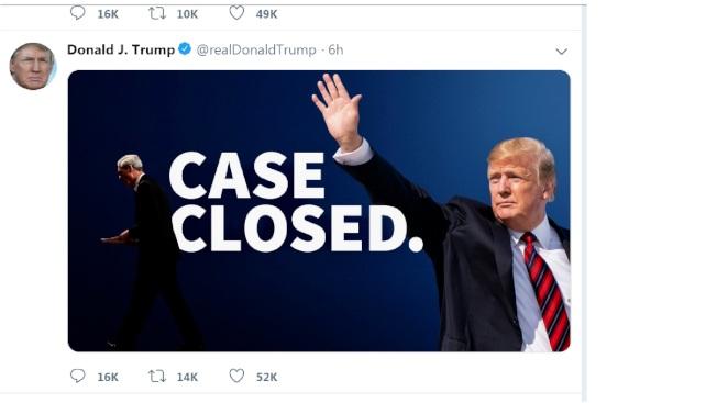 川普總統30日再推文稱,已經結案。(川普推特)