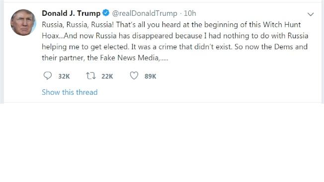 川普總統30日推文稱,「俄羅斯助我當選案,其實與我無關」。(川普推特)