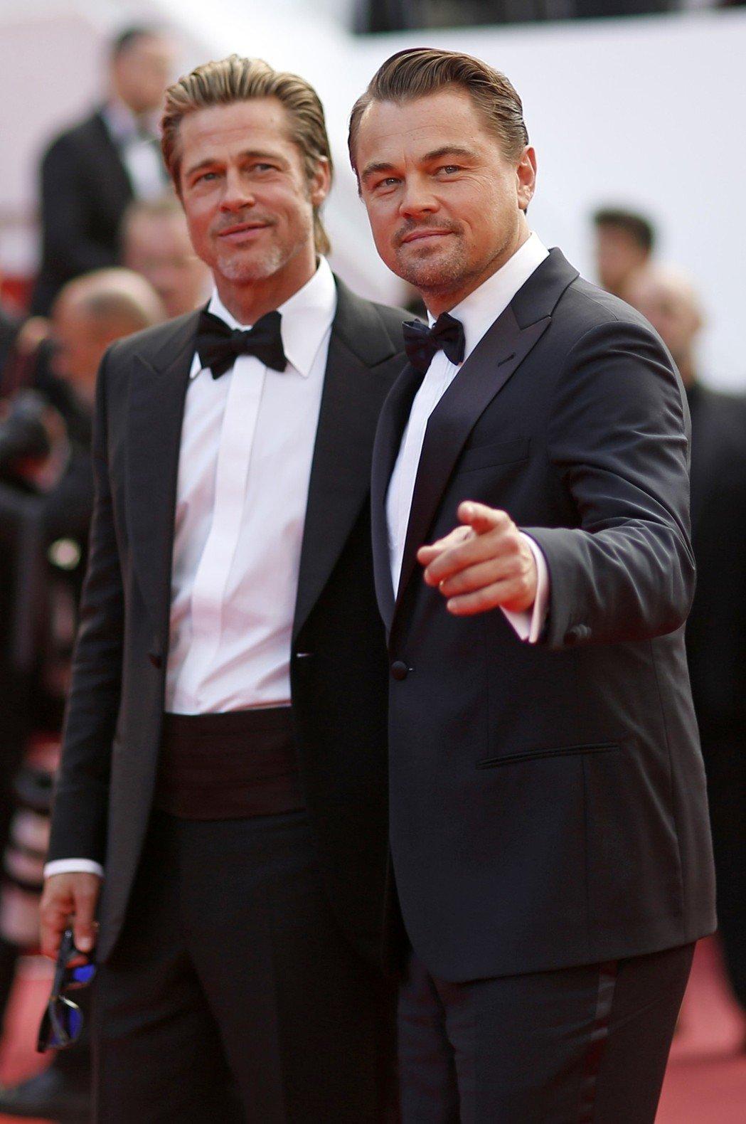 布萊德彼特與李奧納多狄卡皮歐同台,掀起本屆坎城影展最大追星盛況。(路透)