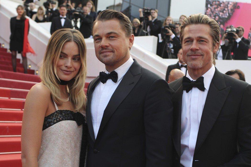 瑪格羅比(左起)、李奧納多狄卡皮歐、布萊德彼特都是「從前,有個好萊塢」的要角。(美聯社)