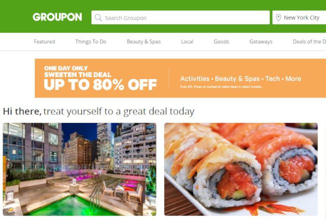 Groupon是個讓人以折扣價消費的網站。(Groupon官網截圖)