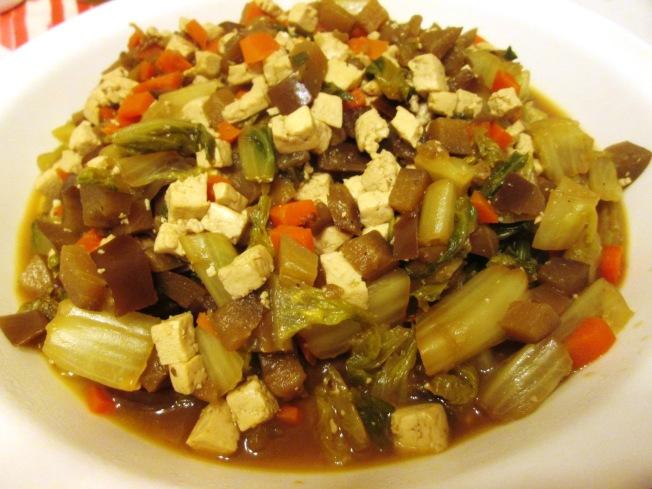 茄子炒美生菜