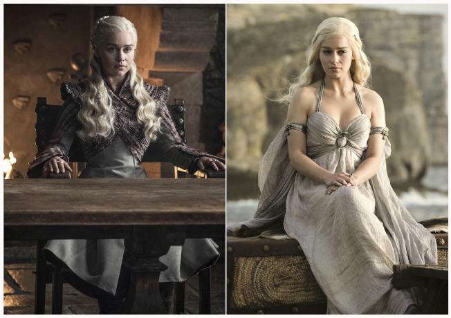 電視劇「冰與火之歌:權力遊戲」中由女星艾蜜莉亞克拉克飾演的「龍母」丹妮莉絲‧坦格利安。(美聯社)