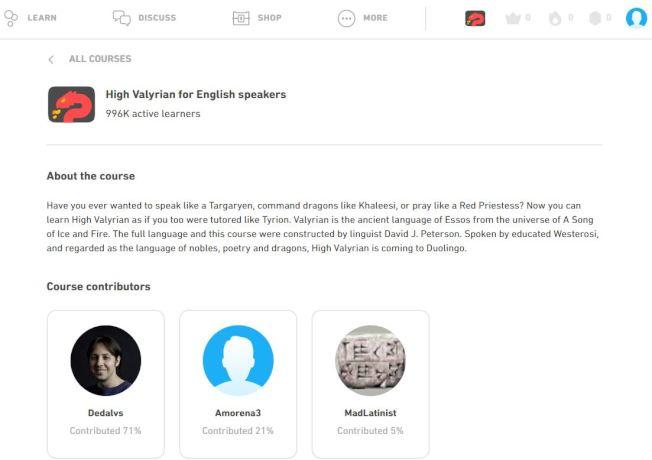 目前熱門線上語言學習平台「多鄰國」上有99萬6000名瓦雷利亞語活躍學習者。(Duolingo官網)