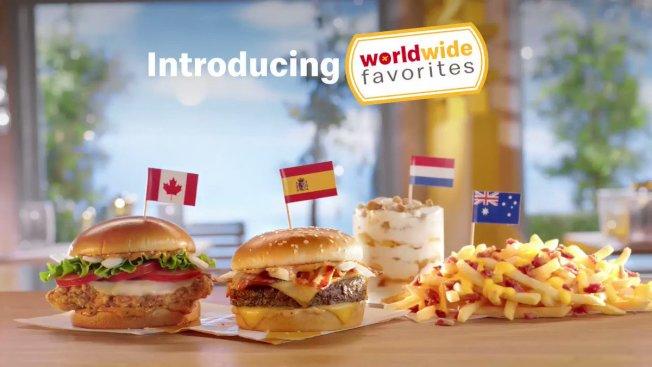美國麥當勞推出「全球典藏菜單」活動,將於6月6日下午2-5時在參與活動的麥當勞分店,限時接受消費者用外幣購餐,僅適用於新菜單四種國際餐點選擇其一。(取自推特)