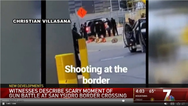 當地電視台報導這起闖關開槍事件。(NBC 7)
