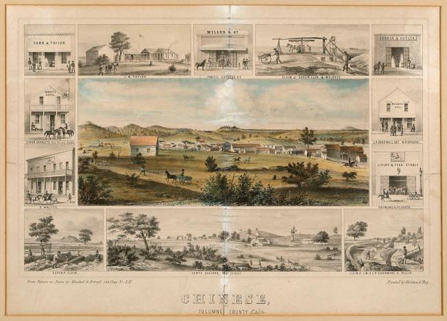 這張1856年的板畫顯示Chinese鎮全景以及鎮內一些礦坑和商業樓宇,所有這些建築已蕩然無存。左邊介紹O. Waltze的小插圖中可見一帶辮子的路過華人。有趣的是,它把華人遷離的Campo Salvado稱之為East Chinese,更凸顯中國營的重要性。(圖:Chinese, Tolumne [sic] County, Southern Mines, California;  BANC PIC 1968.017—B, The Bancroft Library, UC Berkeley)。
