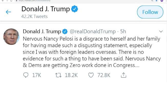 川普總統推文批評國會眾院議長波洛西惡劣可憎,讓她的家人蒙羞。(川普推特)
