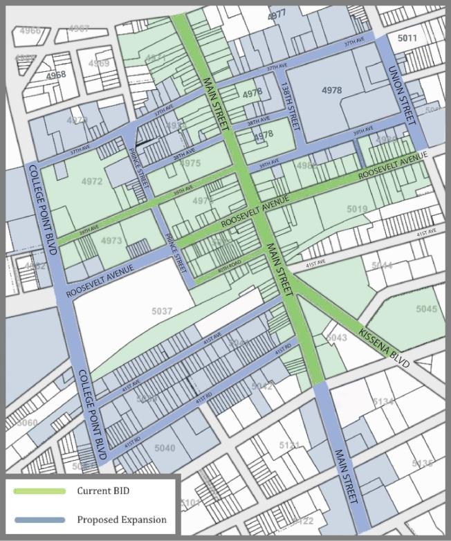 商改區擴展計畫明年暑期實施,綠線為商改區現有範圍,藍色線為擴展路段。(法拉盛BID提供)