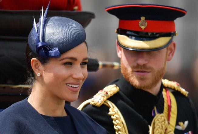 哈利王子和妻子梅根馬克爾今天也一同參加閱兵儀式。(Getty Images)