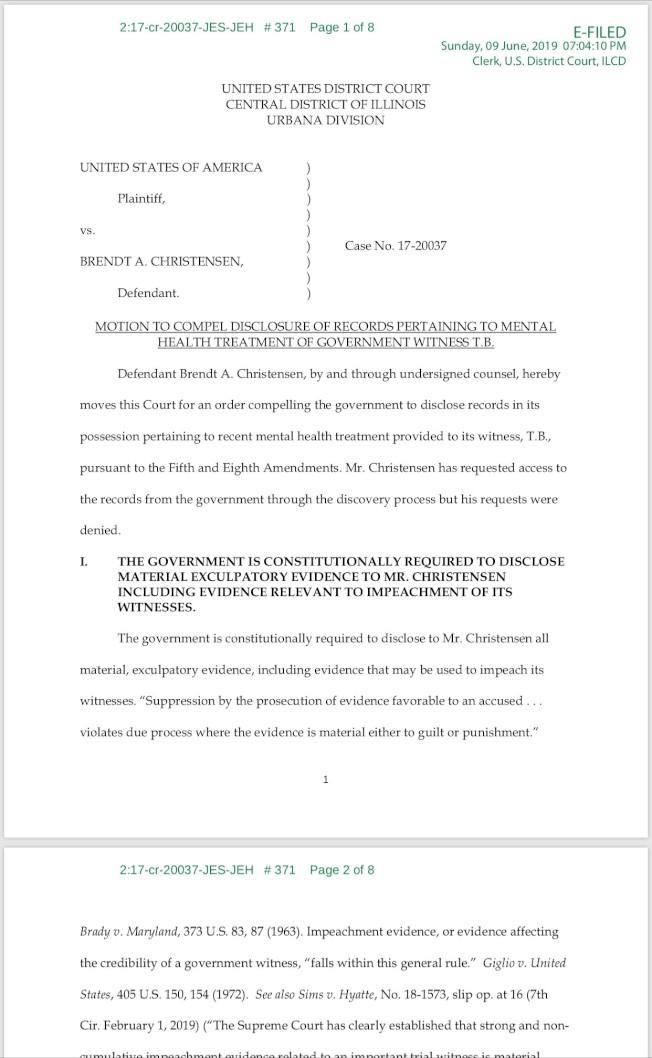辯方律師9日提出動議,稱檢方重要證人T.B.的精神疾病影響作證能力。(法院文件截圖)