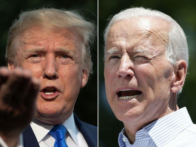 川普總統(左圖)和前副總統白登同一天到愛阿華州競選,兩人隔空互批,措詞激烈。(Getty Images)