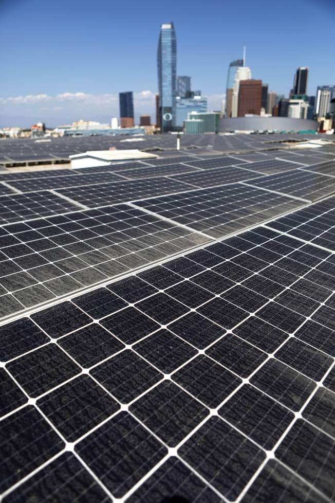 美國能源部已下令,任何研究計畫要與中資切割,圖為加州洛杉磯的太陽能發電板。(Getty Images)