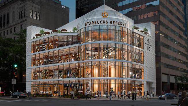 「星巴克」在芝加哥市中心建一間四層高的精品旗艦店正積極改工裝修中。(取自Starbucks)