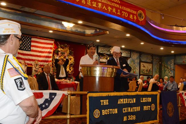 波士頓美國華裔退伍軍人會新任會長陳文浩致就職詞。(退伍軍人會提供)