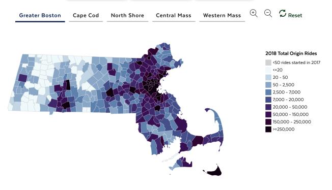 麻州網約車服務,主要服務集中在波士頓地區。(取自麻州州府官網)