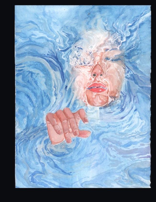 畫作「溶於水中」。(記者陳雯娟╱攝影)