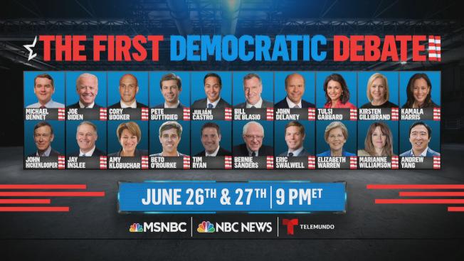 民主黨2020年總統提名人首輪辯論,將於6月26日及27日舉行,有20人參加,由NBC轉播。(NBC電視網)