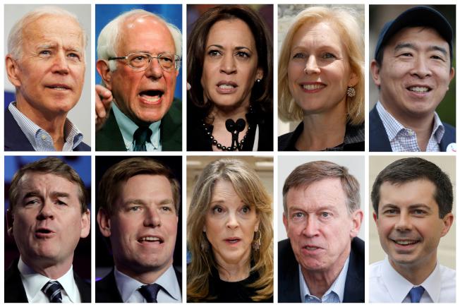 民主黨2020年總統提名人首輪辯論,將有20人參加,分為兩組。圖中這組參選人:上排左起 為,白登、桑德斯、賀錦麗、陸天娜、華裔楊安澤;下排左起為班乃特、史瓦威爾、威廉森、希肯魯伯及布塔朱吉。(路透)