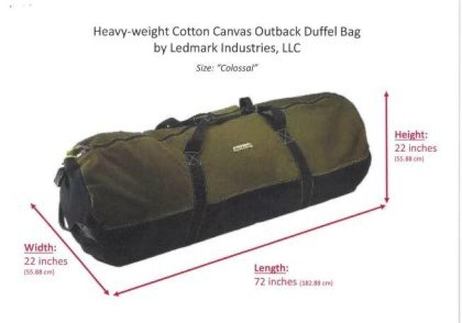 檢方表示,在綁架章瑩穎前幾天,被告從亞馬遜網站,購入如圖中的大型帆布行李袋。 (檢察官辦公室截圖)