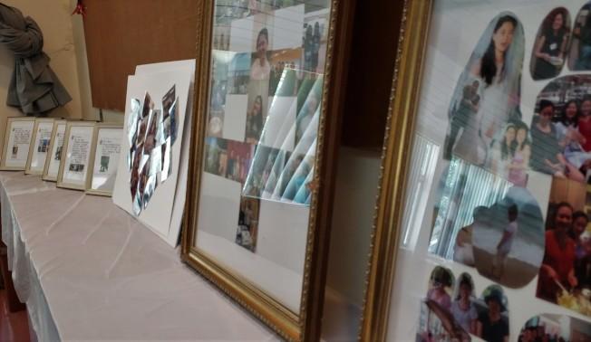 蔡申治喪委員會收集的蔡申遺照和生前所發的微信照片和字句,在會場展示。( 記者唐嘉麗/攝影)
