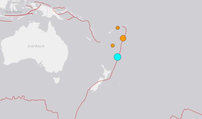 紐西蘭北部克馬得群島(Kermadec Islands)於台灣時間今日凌晨6時54分左右,發生規模7.4強震。翻攝USGS
